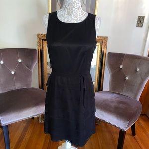 Taylor black silk ruffle dress